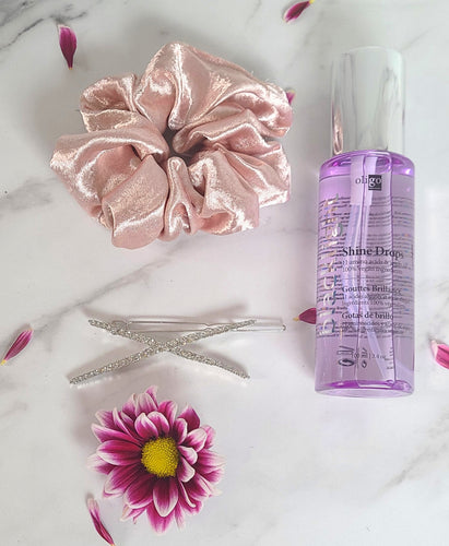 Oligo shine drops, pink satin scrunchie, silver and jewel cross clip.
