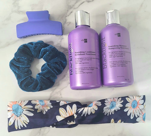 Oligo nourishing shampoo and conditioner, floral soft head band (wrap knot style), blue hair clip, break scrunchie.
