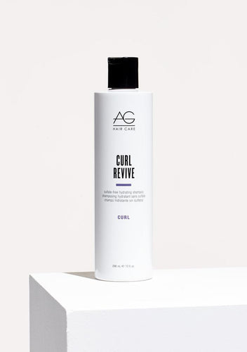 AG Curl Revive, Curl confidence starts in the shower with AG's sulfate-free Curl Revive shampoo. Enriched with super-hydrating coconut oil, sunflower oil and moisturizing pea peptides combined with our exclusive Curl Creating Complex (C3), Curl Revive gently cleanses, maintains moisture, helps control frizz and reinvigorates curls.