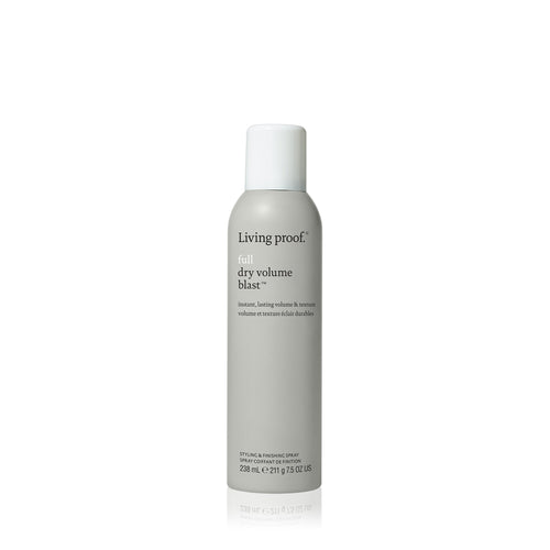 Living Proof Full Dry Volume Blast A styling spray that creates instant volume and texture that's almost as light as air for big, lasting results on dry hair. Delivers instant volume and texture that lasts Transforms fine, flat hair into voluminous styles. No crunchiness or stiffness Use anytime, anywhere for instant results