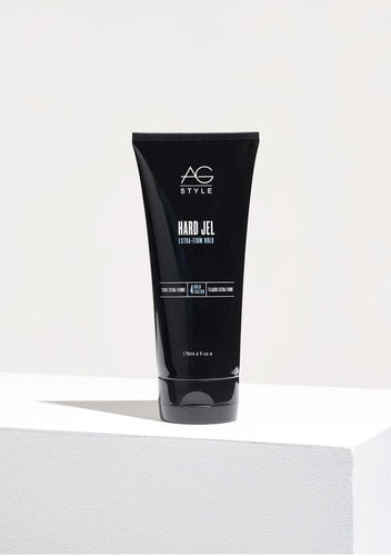 AG Hard Jel Ideal for hard to manage hair, this extra-firm gel provides control, humidity resistance and all-day-stay-in-place hold. Hard Jel is alcohol-free and guaranteed not to build up or flake. Classic slicked back hair with an extra-firm hold. Hold Factor: 4/5