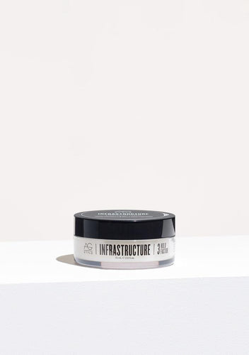 AG Infrastructure Pomade For short to medium length hair, Infrastructure's pliable microfibers provide structure and support with a slight sheen finish. This medium-hold, humidity-resistant pomade gives hair moldable texture, creating that lived-in look.  Best for natural, matte tousled looks, from short and spiky to piecey definition. Hold Factor: 3/5