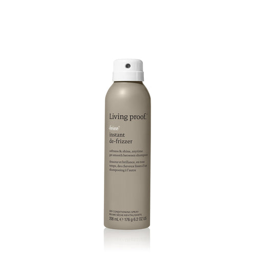 Living Proof No Frizz Instant De-Frizzer A dry conditioning spray that instantly tames up to 92% of frizz on dry hair by adding softness, smoothness and shine. Eliminates frizz by adding softness, smoothness and shine Replenishes hair's natural oils Refreshes dull hair in-between shampoos