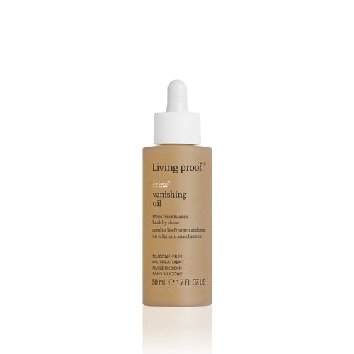 Living Proof No Frizz Vanishing oil A silicone-free, lightweight, fast-absorbing oil that provides frizz protection and hydration for smooth, shiny, healthy-feeling hair. Fast absorbing and enhances shine Hydrates and smooths hair Provides frizz protection Mimics hair's natural oils