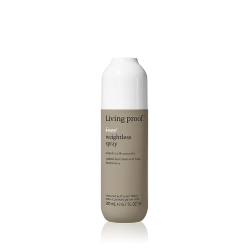 Living Proof No Frizz Styling Spray A smoothing styling spray that eliminates frizz by blocking humidity without weighing hair down. Weightlessly smooths and stops frizz by blocking humidity Ideal for fine h