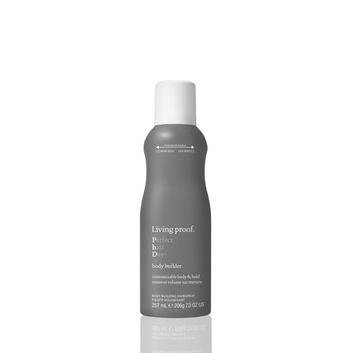 Living Proof Body Builder A customizable body building hairspray that creates instant, buildable body with airiness, movement and light hold.  Customizable nozzle Instant buildable body Adds airiness and movement to styled hair Light, touchable hold Heat protection (up to 450°F/230°C)