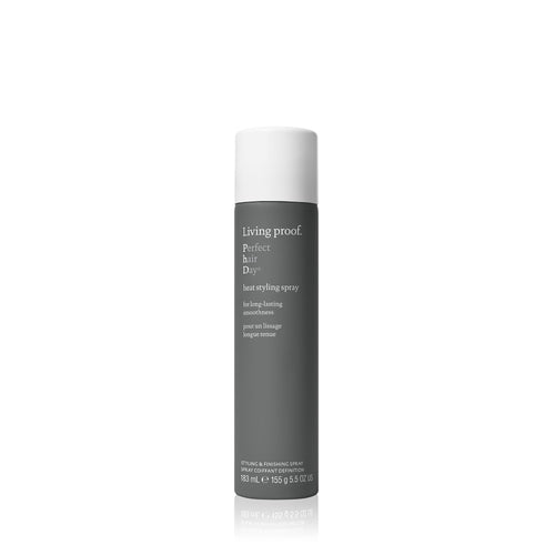 Living Proof  Perfect Hair Day heat styling spray This lightweight heat protectant spray delivers touchable, soft smoothness that lasts up to 48 hours—without the use of silicones.   Smoothness for up to 48 hours Heat protection up to 450℉ / 230°C Ultra-fine mist ensures even application Helps hair stay cleaner, longer, so you can heat style less often