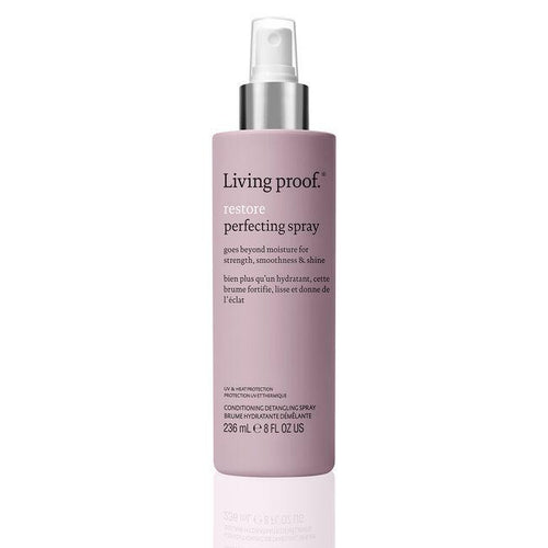 Living Proof Restore Perfectting Spray A featherweight conditioning detangler that delivers all the benefits dry, damaged hair needs to look and feel healthier. Delivers an instant boost of hydration Minimizes breakage from wet detangling Provides lasting smoothness and natural shine Heat protection (up to 400°F/200°C)