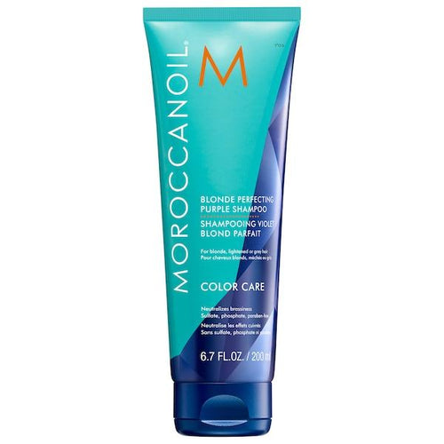 Moroccan oil Blonde Perfecting Purple Shampoo for blonde hair eliminates brass