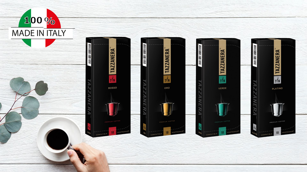 Tazzanera Coffee Capsule Set ( 4 Box mixed Flavour + 1 Box Random Flavour)