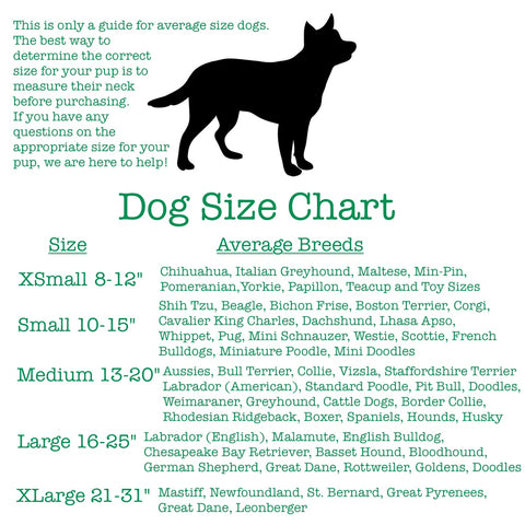 3 Pooches Collars Size Chart