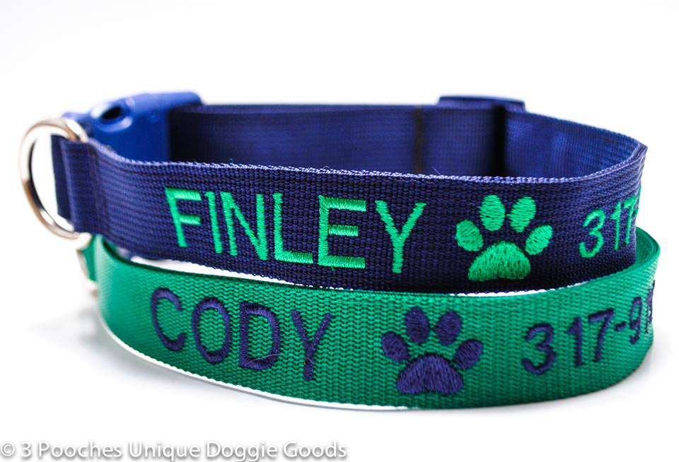 Classic Solid Personalized Collar with Image - 1.5 inch width