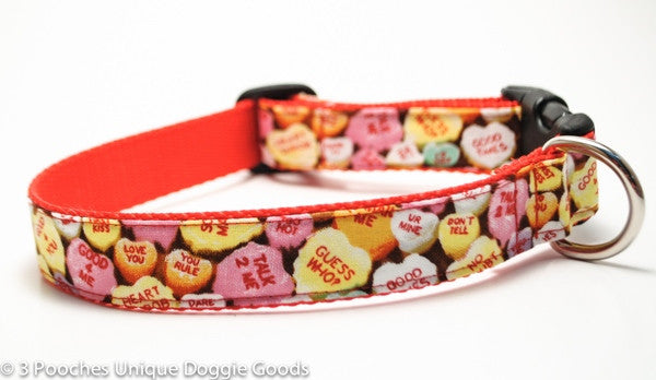 Valentine Candy Hearts Dog Collar