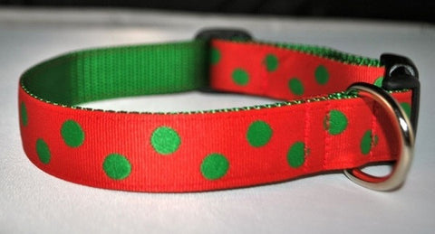 Christmas Dots - Green on Red