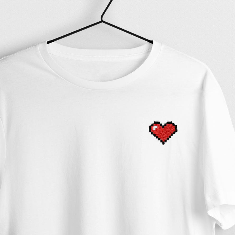 8-Bit Heart Embroidered T-Shirt T-Shirt ALLPOP