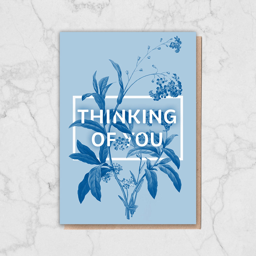Blue Floral Thinking Of You Card Greetings Card ALLPOP