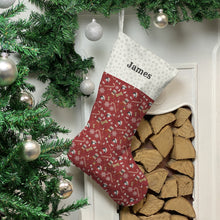 Load image into Gallery viewer, Cavachon Dog Print Christmas Stocking Christmas Stocking Dog Breeds Burgundy Snowflakes Medium