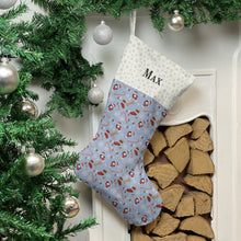 Load image into Gallery viewer, Cavachon Dog Print Christmas Stocking Christmas Stocking Dog Breeds Pale Blue Snowflakes Medium