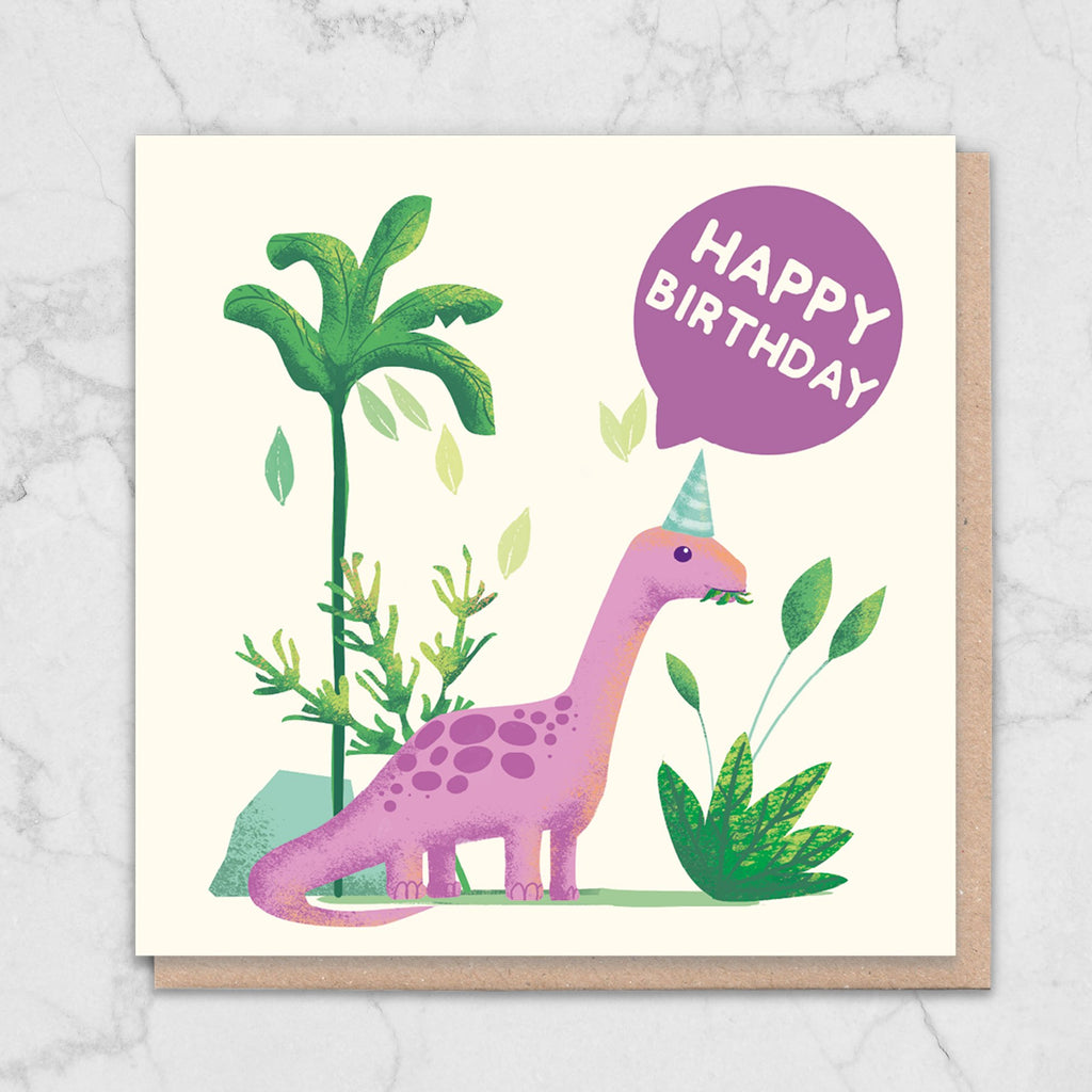 Cute Pink Dinosaur Birthday Card Greetings Card ALLPOP