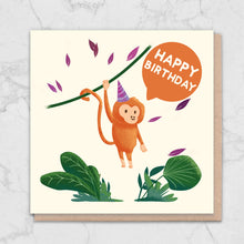 Load image into Gallery viewer, Cute Swinging Monkey Birthday Card Greetings Card ALLPOP