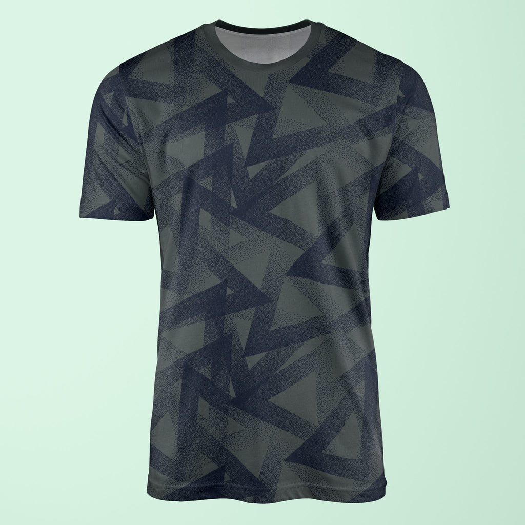 Dotty Triangles Print Navy Blue T-Shirt T-Shirt Tee