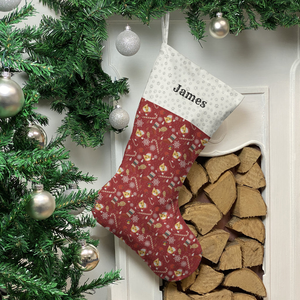 Ginger Cat Print Christmas Stocking Christmas Stocking Dog Breeds