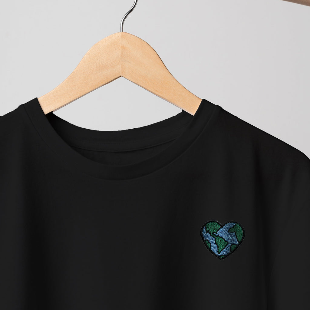 Globe Heart Embroidered Black T Shirt T-Shirt ALLPOP
