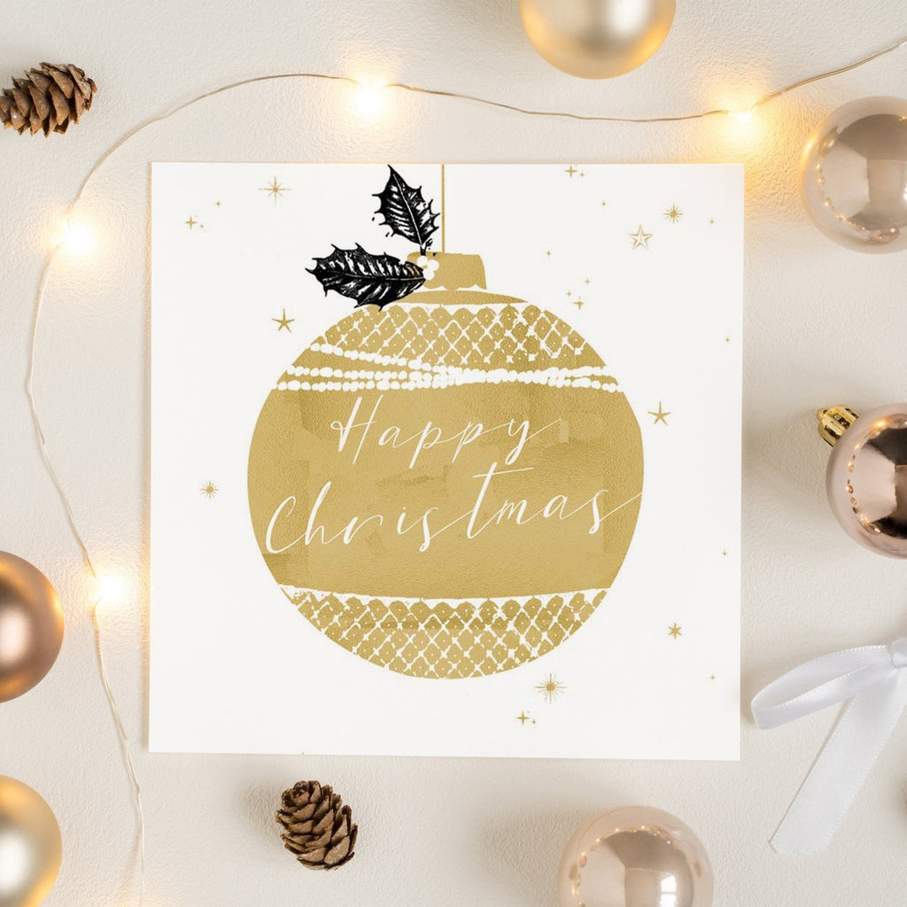 Gold Bauble Happy Christmas Card Greetings Card ALLPOP