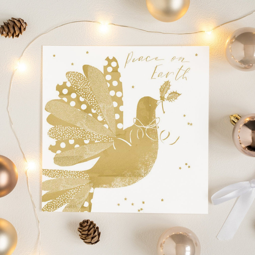 Gold Dove with Holly Happy Christmas Card Greetings Card ALLPOP