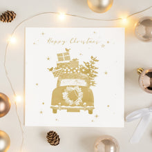 Load image into Gallery viewer, Gold Full Car Happy Christmas Card Greetings Card ALLPOP