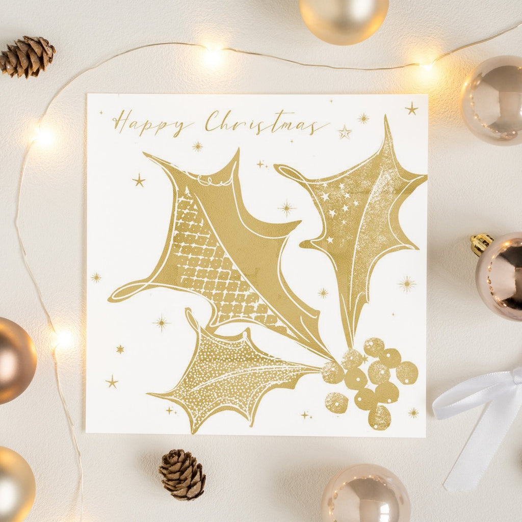 Gold Holly Sprig Happy Christmas Card Greetings Card ALLPOP