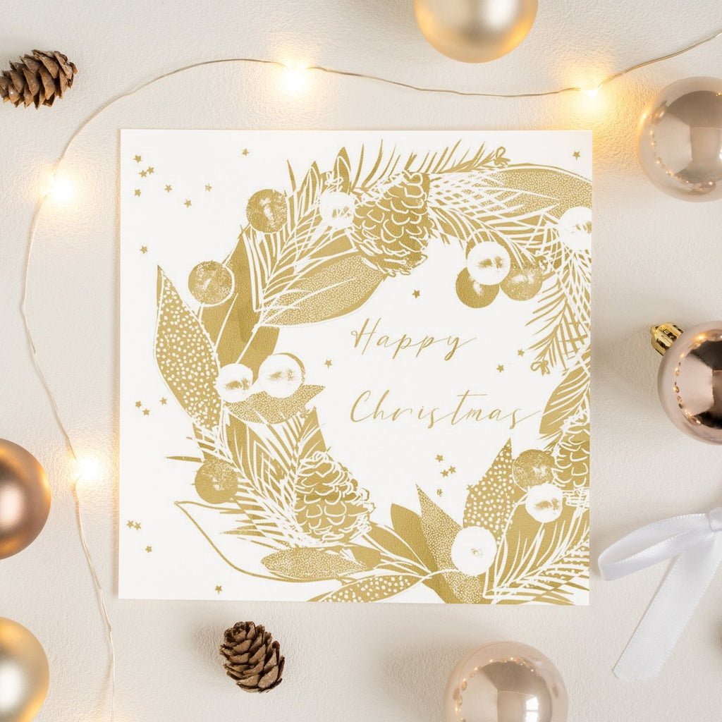 Gold Wreath Happy Christmas Card Greetings Card ALLPOP