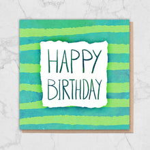 Load image into Gallery viewer, Green Stripe 'Happy Birthday' Card Greetings Card ALLPOP
