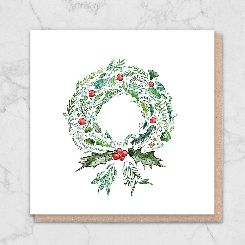 Green Wreath Nature Christmas Card Greetings Card ALLPOP