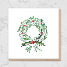 Load image into Gallery viewer, Green Wreath Nature Christmas Card Greetings Card ALLPOP