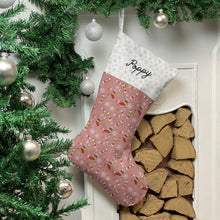 Load image into Gallery viewer, Greyhound Dog Print Christmas Stocking Christmas Stocking Dog Breeds Pink Snowflakes Medium