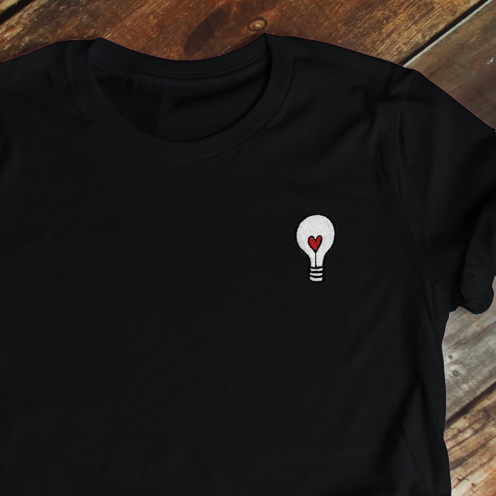 Heart Lightbulb Embroidered Black T Shirt T-Shirt ALLPOP
