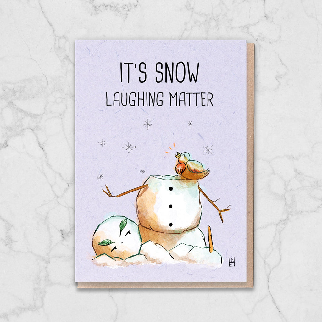 It's Snow Laughing Matter Snowman Card Greetings Card ALLPOP