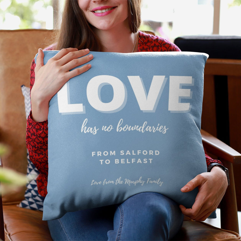 Lockdown Christmas Personalised 'Love' Cushion Cushion MBT Dusty Blue None (cover only)