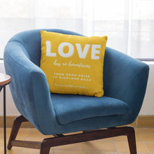 Load image into Gallery viewer, Lockdown Christmas Personalised 'Love' Cushion Cushion MBT Saffron Gold None (cover only)