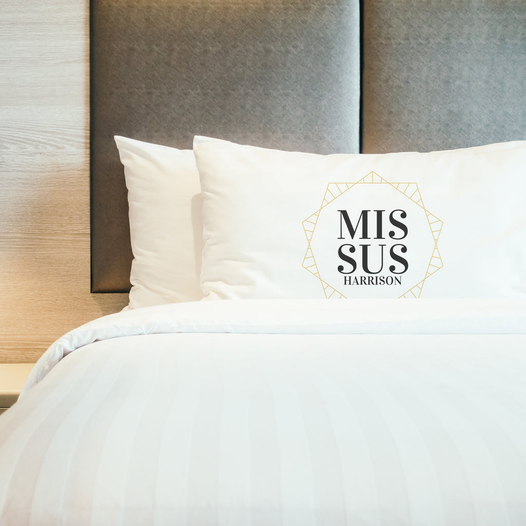 Personalised Art Deco Couples Pillowcases Pillowcase MBT