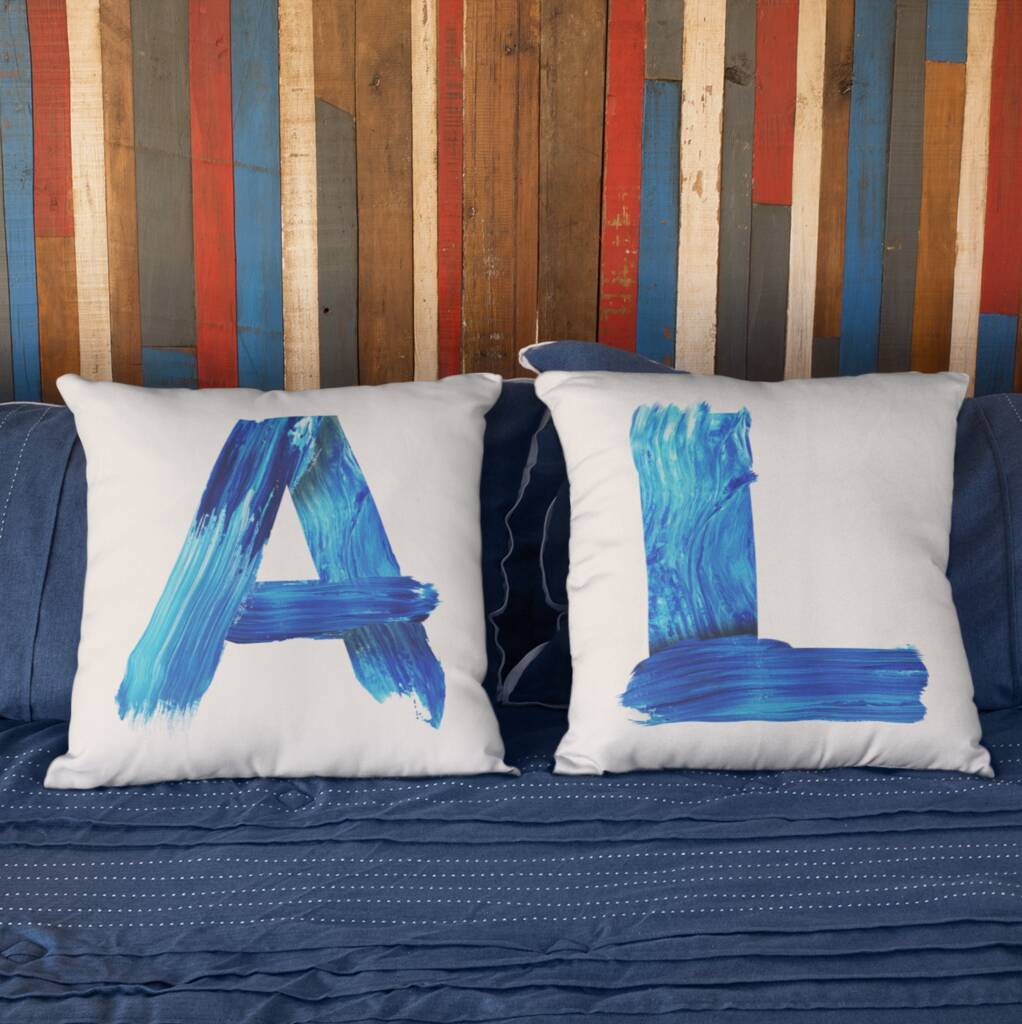 Personalised Blue Brush Letter Cushion Cushion MBT