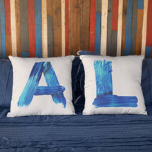 Load image into Gallery viewer, Personalised Blue Brush Letter Cushion Cushion MBT