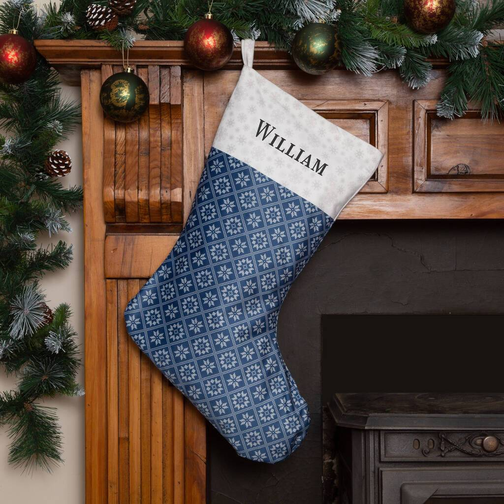 Personalised Christmas Stocking 'Fair Isle Snowflakes' Christmas Stocking MBT Navy Medium Option 1