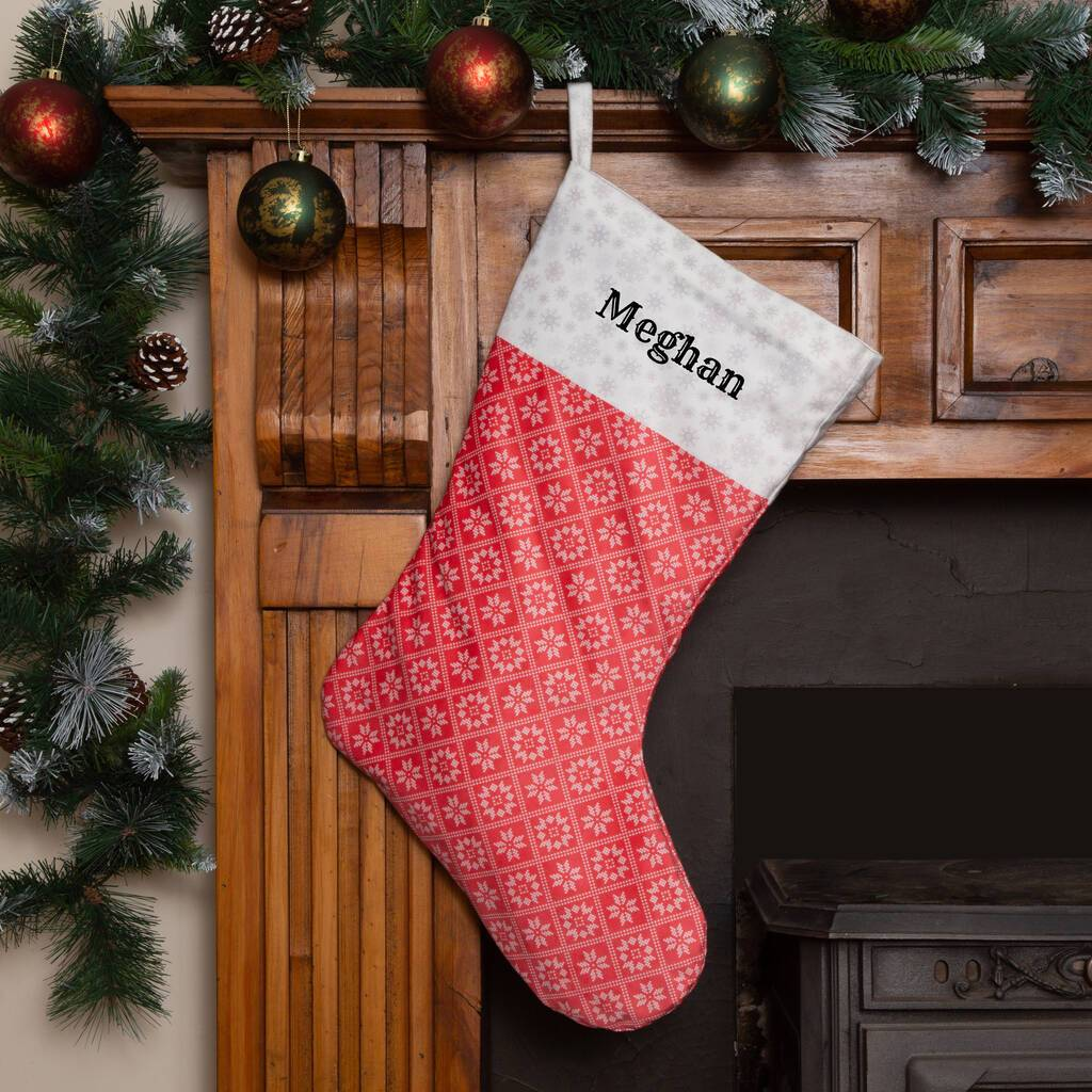 Personalised Christmas Stocking 'Fair Isle Snowflakes' Christmas Stocking MBT Red Medium Option 1
