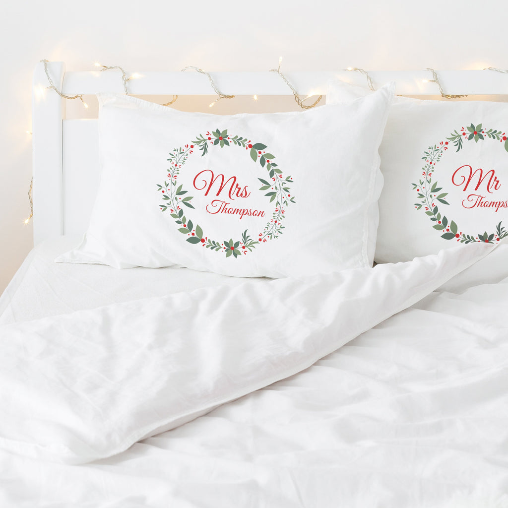 Personalised Christmas Wreath Couples Pillowcases Pillowcase MBT