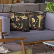Load image into Gallery viewer, Personalised Dark Floral Letter Cushion Cushion MBT