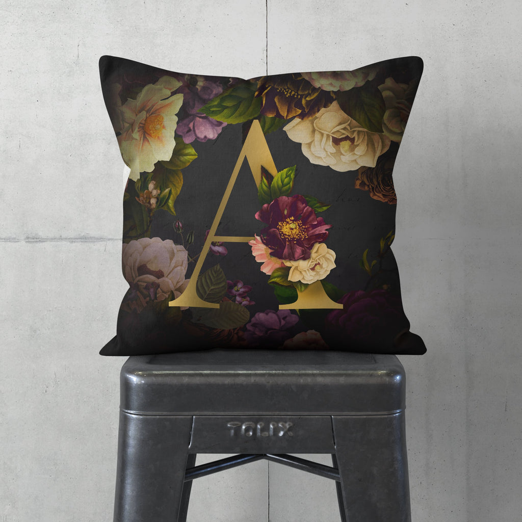 Personalised Dark Floral Letter Cushion Cushion MBT A None (Cover Only)