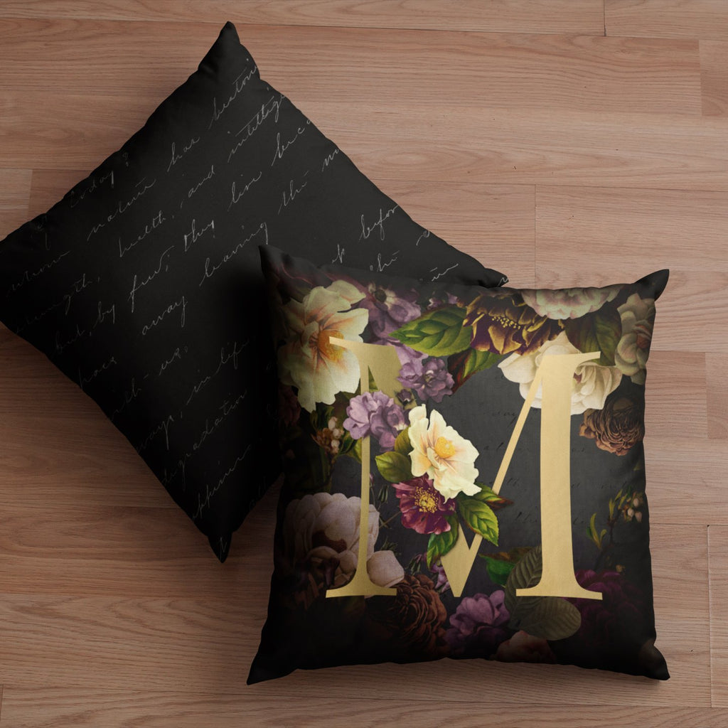 Personalised Dark Floral Letter Cushion Cushion MBT M None (Cover Only)