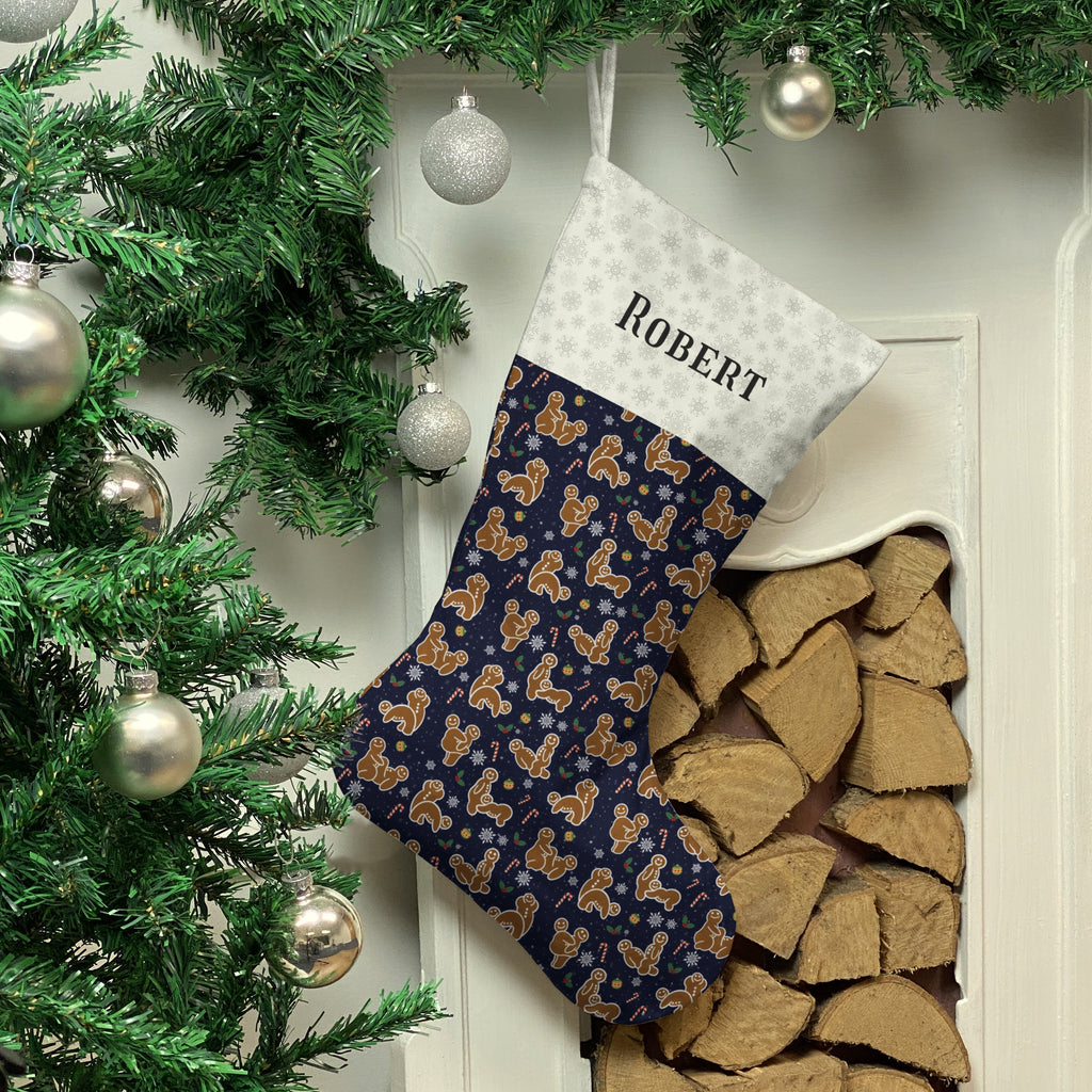 Personalised Gingerbread Christmas Stocking (Navy) Christmas Stocking MBT